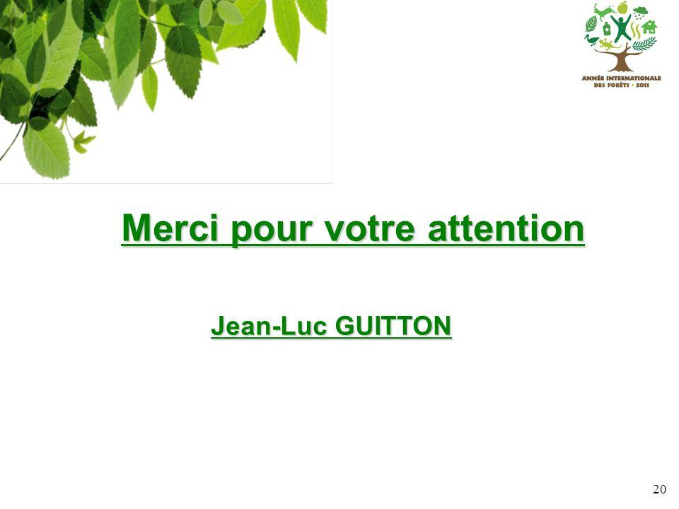 20 Merci pour votre attention Merci pour votre attention Jean-Luc GUITTON