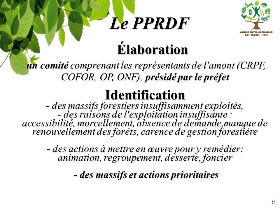9 Le PPRDF Élaboration Élaboration un comité comprenant les représentants de l'amont (CRPF, COFOR, OP, ONF), présidé par le préfet un comité comprenan