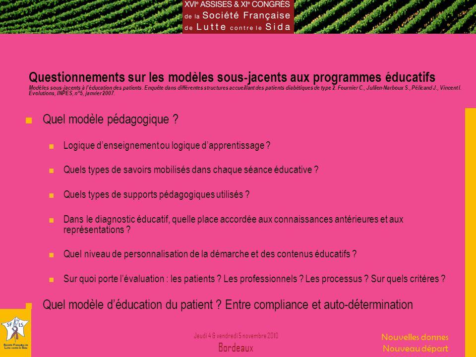Jeudi 4 & vendredi 5 novembre 2010 Bordeaux Nouvelles donnes Nouveau départ Questionnements sur les modèles sous-jacents aux programmes éducatifs Modèles sous-jacents à léducation des patients.
