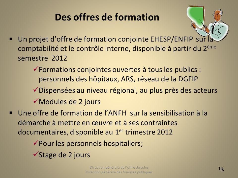 16 Des offres de formation Un projet doffre de formation conjointe EHESP/ENFIP sur la comptabilité et le contrôle interne, disponible à partir du 2 èm