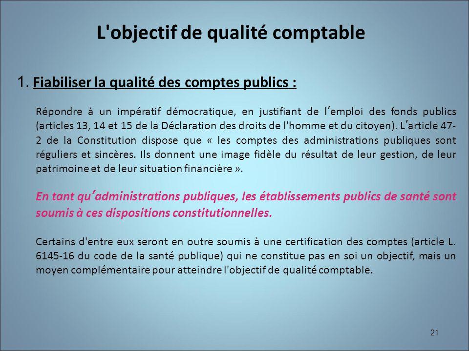 21 1. Fiabiliser la qualité des comptes publics : Répondre à un impératif démocratique, en justifiant de lemploi des fonds publics (articles 13, 14 et