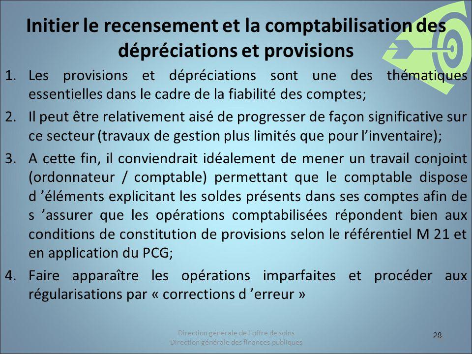 28 Initier le recensement et la comptabilisation des dépréciations et provisions 1.Les provisions et dépréciations sont une des thématiques essentiell