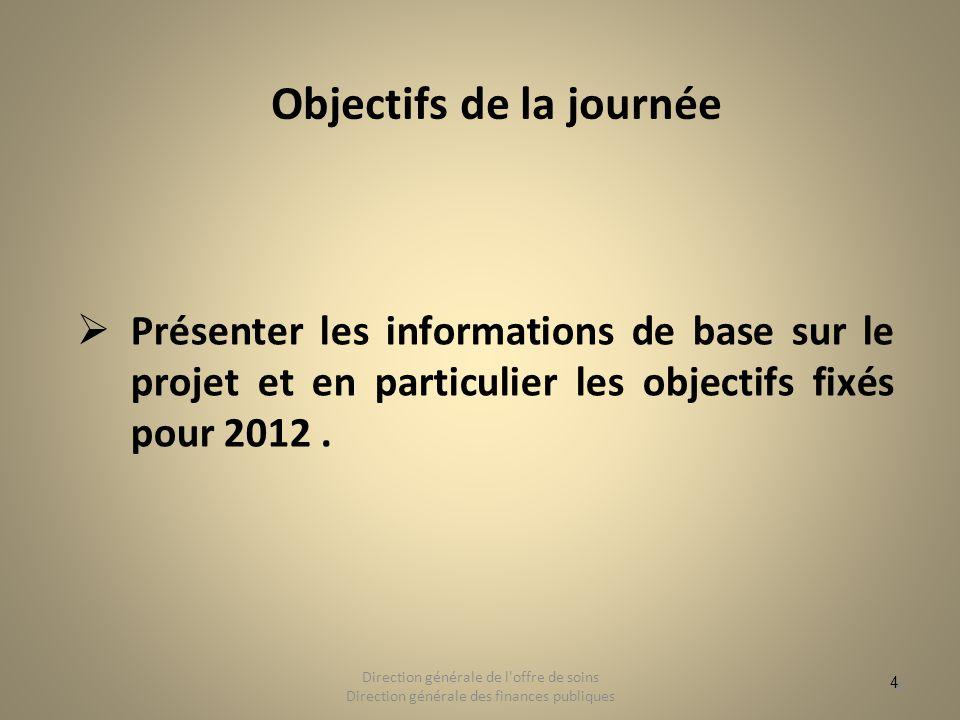 4 Objectifs de la journée Présenter les informations de base sur le projet et en particulier les objectifs fixés pour 2012. 4 Direction générale de l'