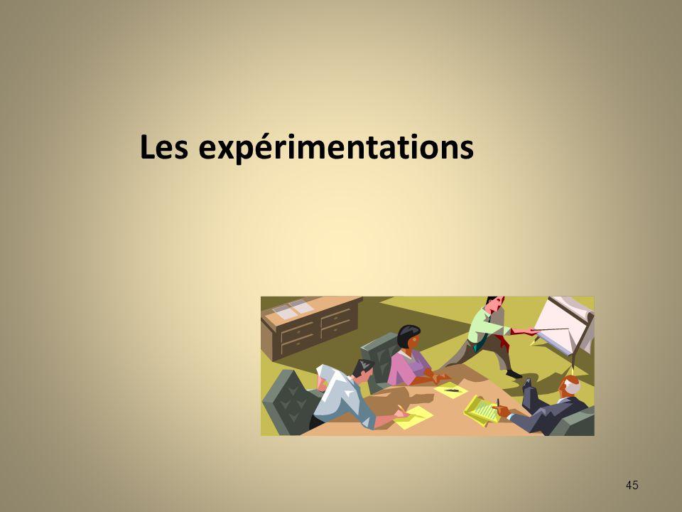 45 Les expérimentations