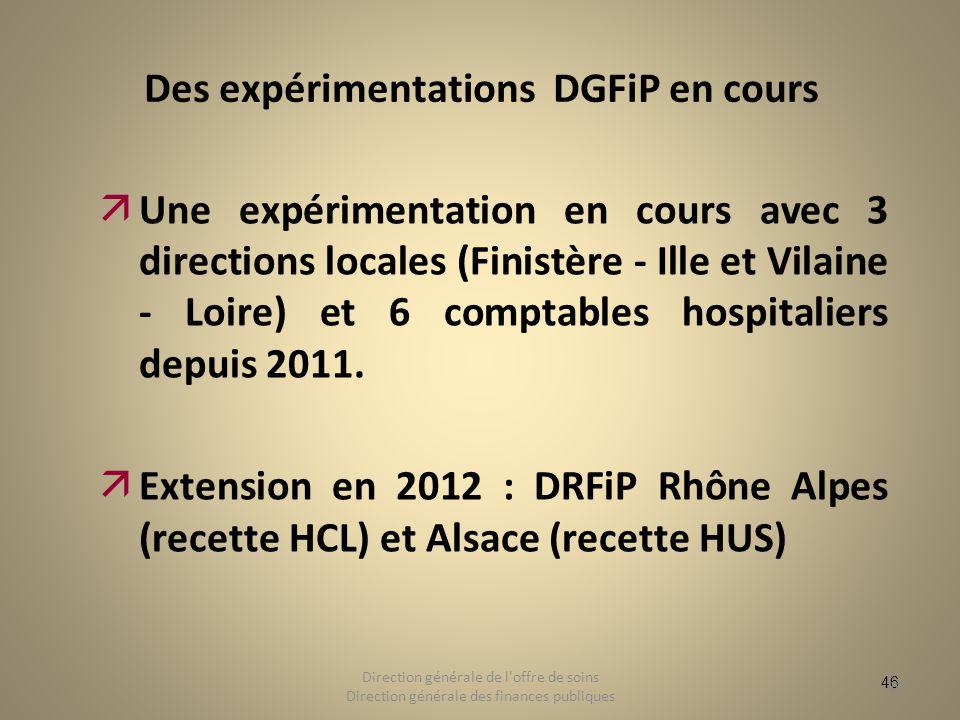 46 Des expérimentations DGFiP en cours äUne expérimentation en cours avec 3 directions locales (Finistère - Ille et Vilaine - Loire) et 6 comptables h