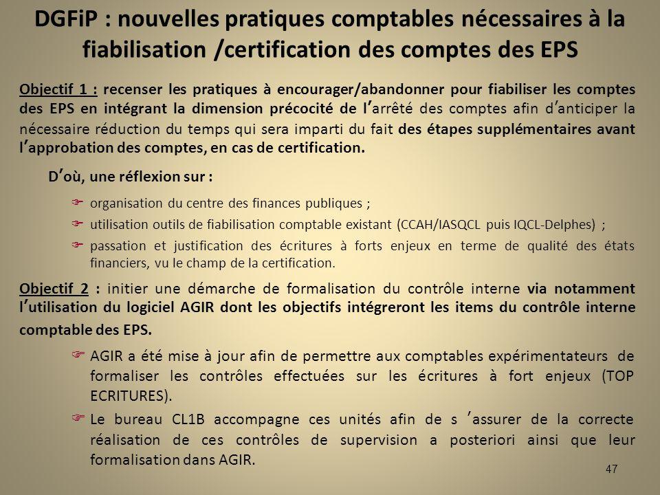 47 Objectif 1 : recenser les pratiques à encourager/abandonner pour fiabiliser les comptes des EPS en intégrant la dimension précocité de larrêté des