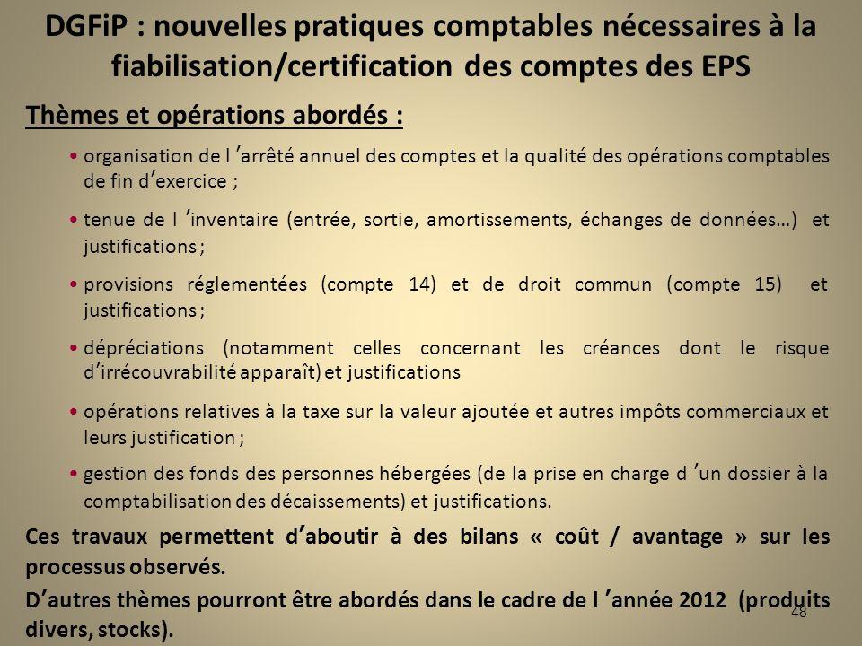 48 Thèmes et opérations abordés : organisation de l arrêté annuel des comptes et la qualité des opérations comptables de fin dexercice ; tenue de l in