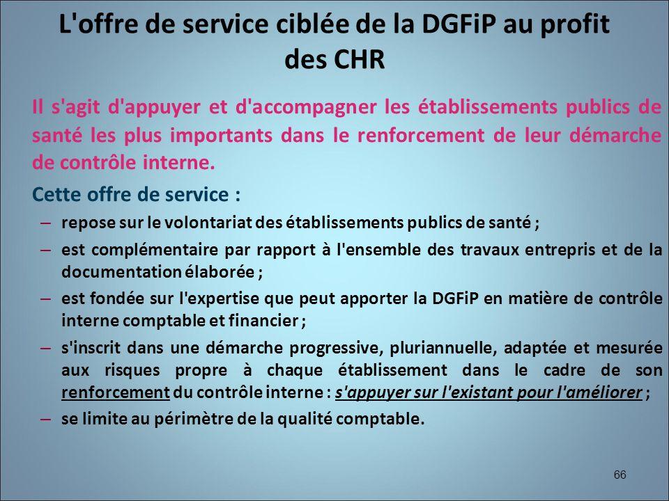 66 L'offre de service ciblée de la DGFiP au profit des CHR Il s'agit d'appuyer et d'accompagner les établissements publics de santé les plus important