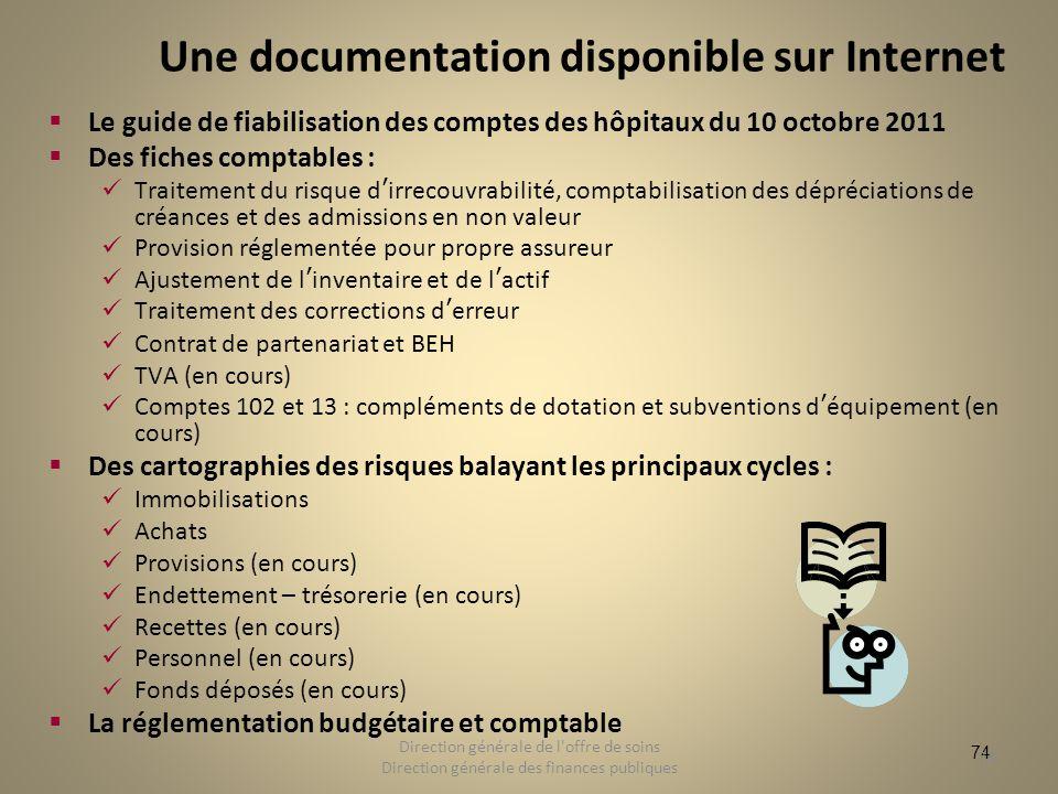 74 Une documentation disponible sur Internet Le guide de fiabilisation des comptes des hôpitaux du 10 octobre 2011 Des fiches comptables : Traitement