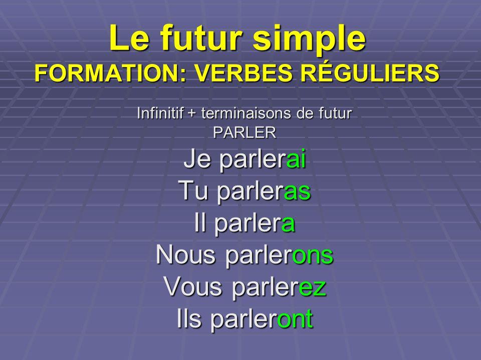 Le futur simple FORMATION: VERBES RÉGULIERS Infinitif + terminaisons de futur PARLER Je parlerai Tu parleras Il parlera Nous parlerons Vous parlerez I