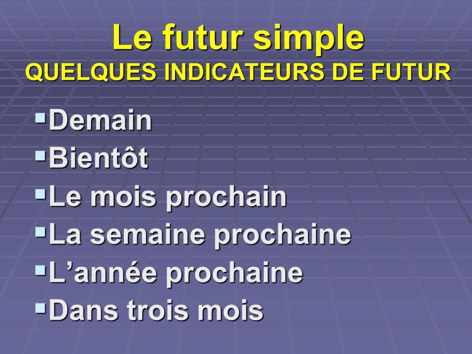 Le futur simple QUELQUES INDICATEURS DE FUTUR Demain Demain Bientôt Bientôt Le mois prochain Le mois prochain La semaine prochaine La semaine prochain