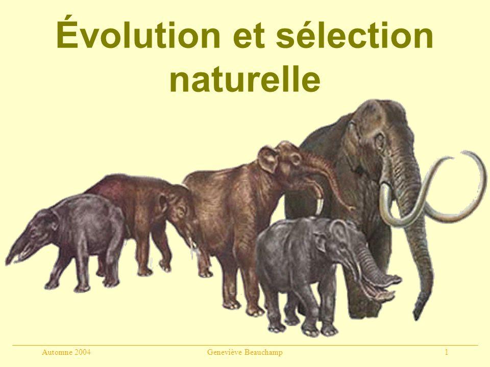 Automne 2004Geneviève Beauchamp12 Darwin (1858) OBSERVATIONS : 1.Adaptations des plantes et des végétaux à leur milieu 2.Espèces proches géographiquement se ressemblent plus que les espèces éloignées 3.Ressemblances entre espèces éteintes et espèces vivantes 4.Espèces endémiques