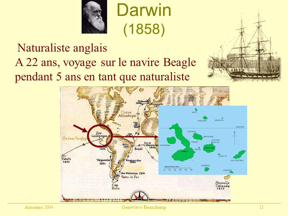 Automne 2004Geneviève Beauchamp11 Darwin (1858) Naturaliste anglais A 22 ans, voyage sur le navire Beagle pendant 5 ans en tant que naturaliste