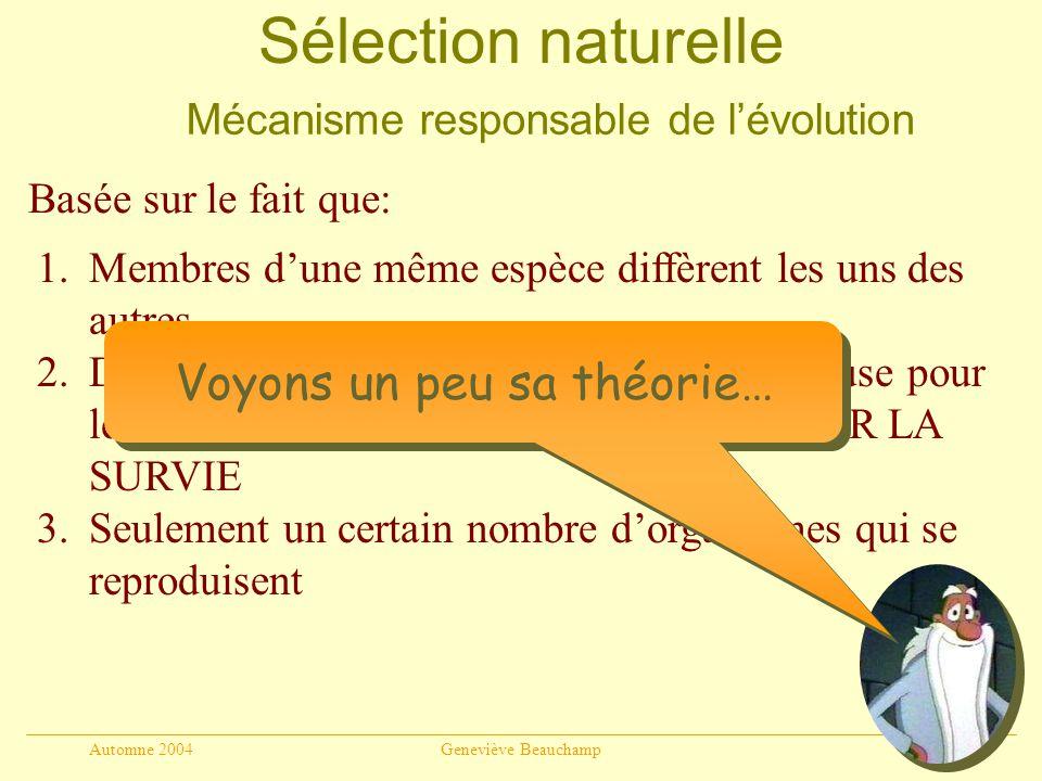 Automne 2004Geneviève Beauchamp15 Sélection naturelle Mécanisme responsable de lévolution Basée sur le fait que: 1.Membres dune même espèce diffèrent les uns des autres 2.Descendance dune espèce est trop nombreuse pour les ressources disponibles LUTTE POUR LA SURVIE 3.Seulement un certain nombre dorganismes qui se reproduisent Voyons un peu sa théorie…