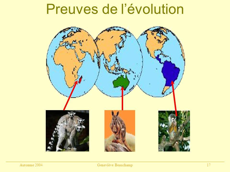 Automne 2004Geneviève Beauchamp17 Preuves de lévolution 1.Sélection artificielle 2. Paléontologie 3. Anatomie comparée 4. Embryologie 5. Biogéographie