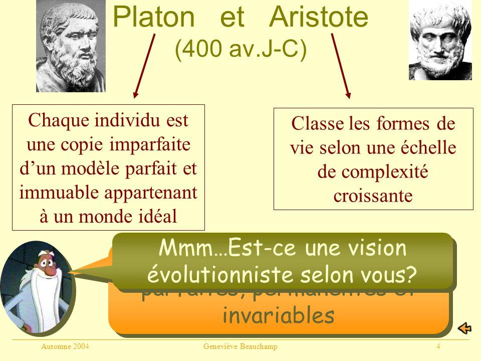 Automne 2004Geneviève Beauchamp4 Platon et Aristote (400 av.J-C) Non, les espèces sont parfaites, permanentes et invariables Chaque individu est une copie imparfaite dun modèle parfait et immuable appartenant à un monde idéal Classe les formes de vie selon une échelle de complexité croissante Mmm…Est-ce une vision évolutionniste selon vous?