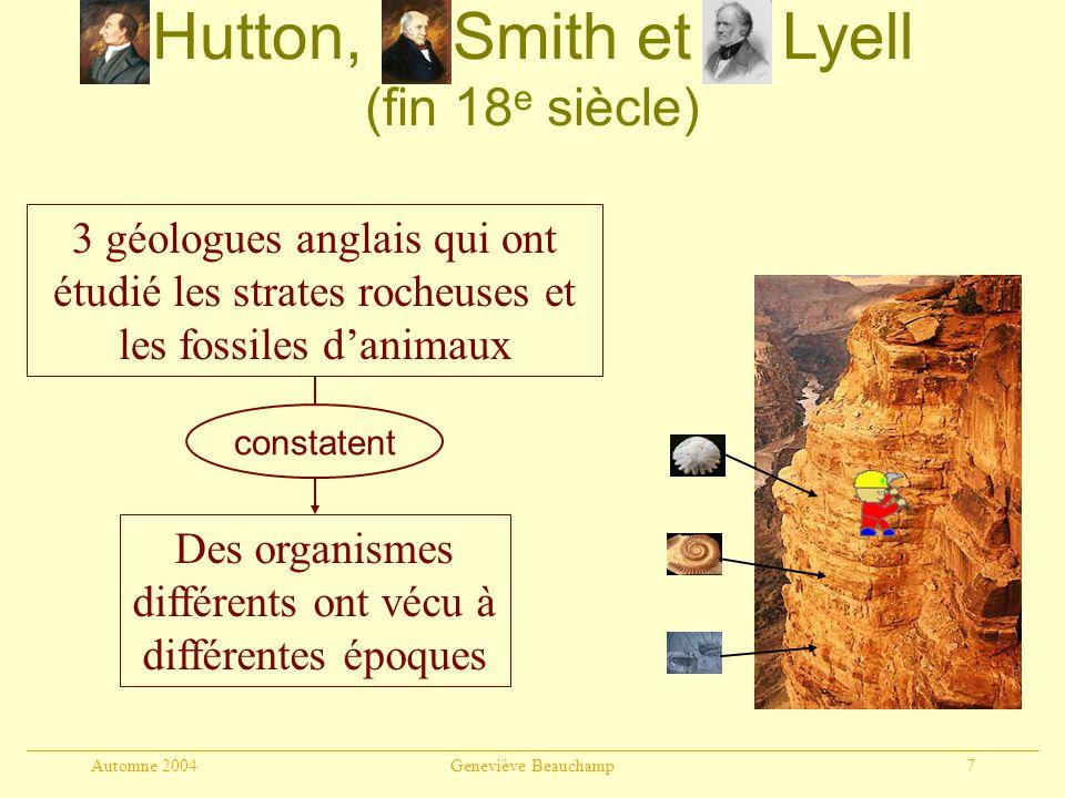 Automne 2004Geneviève Beauchamp18 En résumé La sélection naturelle linégalité des chance de reproduction l interaction entre le milieu et la variabilité propre aux organismes dune population ladaptation des populations à leur environnement correspond à repose sur débouche sur
