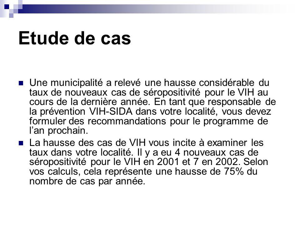 Etude de cas Une municipalité a relevé une hausse considérable du taux de nouveaux cas de séropositivité pour le VIH au cours de la dernière année. En