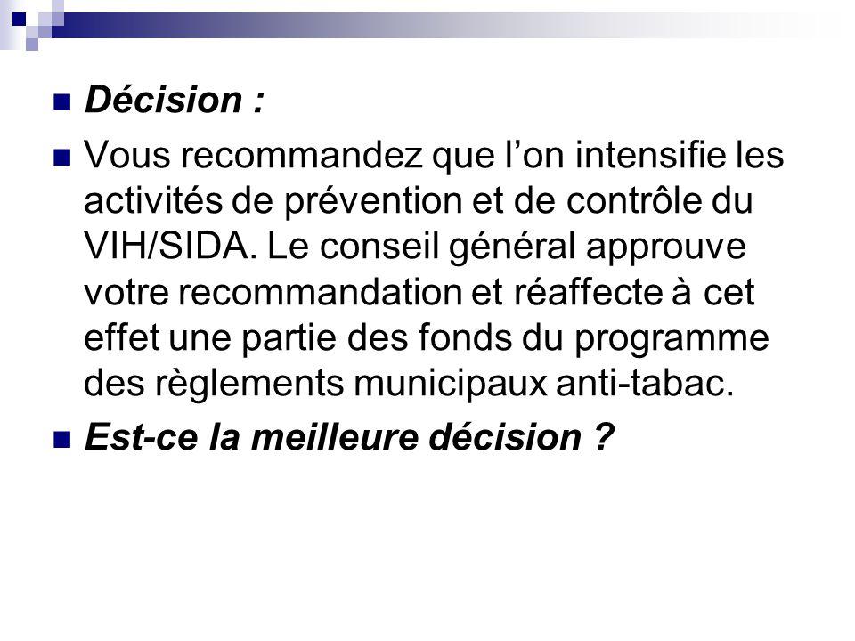Décision : Vous recommandez que lon intensifie les activités de prévention et de contrôle du VIH/SIDA. Le conseil général approuve votre recommandatio