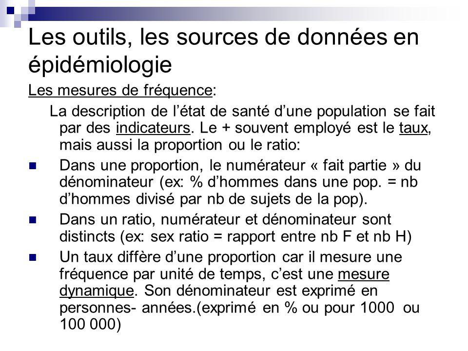 Les outils, les sources de données en épidémiologie Les mesures de fréquence: La description de létat de santé dune population se fait par des indicat