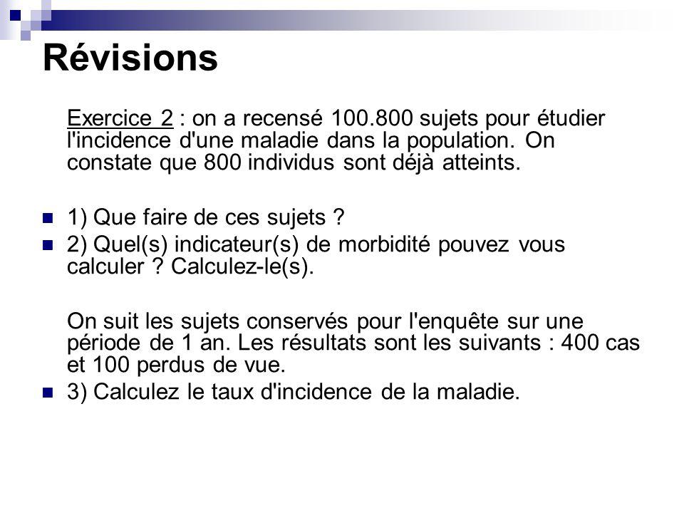 Révisions Exercice 2 : on a recensé 100.800 sujets pour étudier l'incidence d'une maladie dans la population. On constate que 800 individus sont déjà