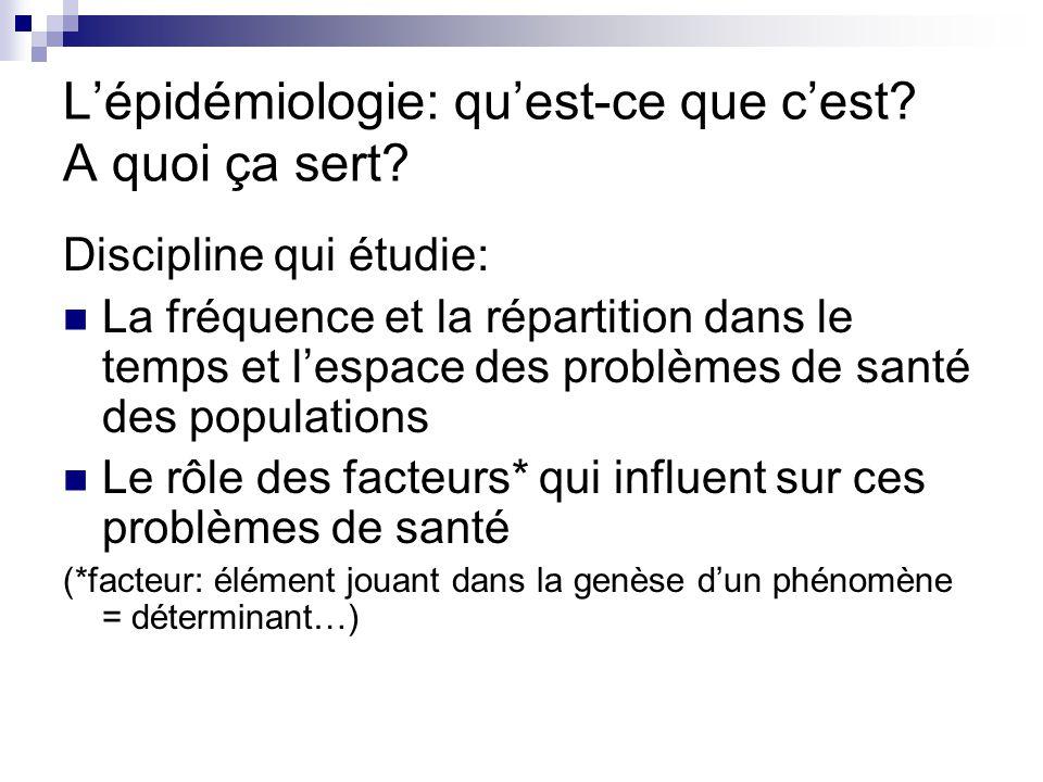 Lépidémiologie: quest-ce que cest? A quoi ça sert? Discipline qui étudie: La fréquence et la répartition dans le temps et lespace des problèmes de san