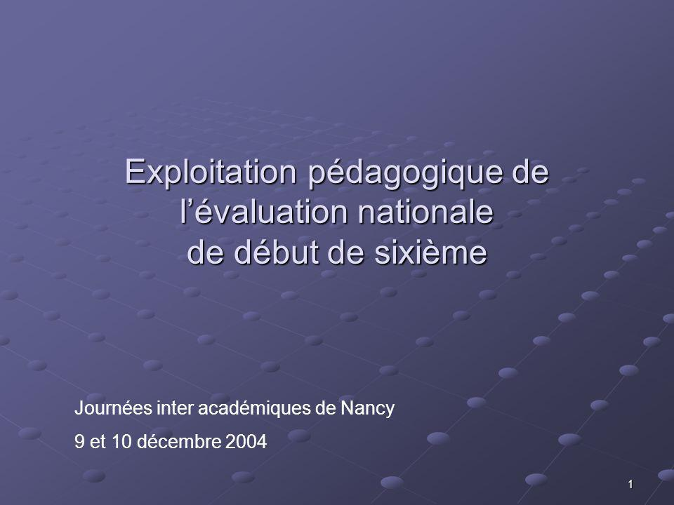1 Exploitation pédagogique de lévaluation nationale de début de sixième Journées inter académiques de Nancy 9 et 10 décembre 2004