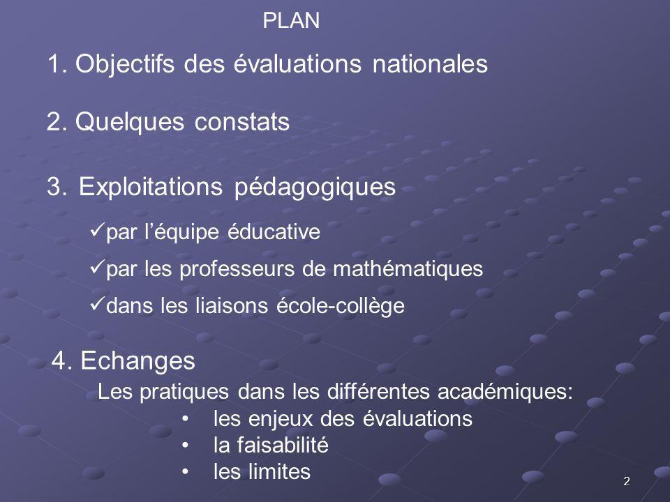 2 2. Quelques constats 1. Objectifs des évaluations nationales 3.