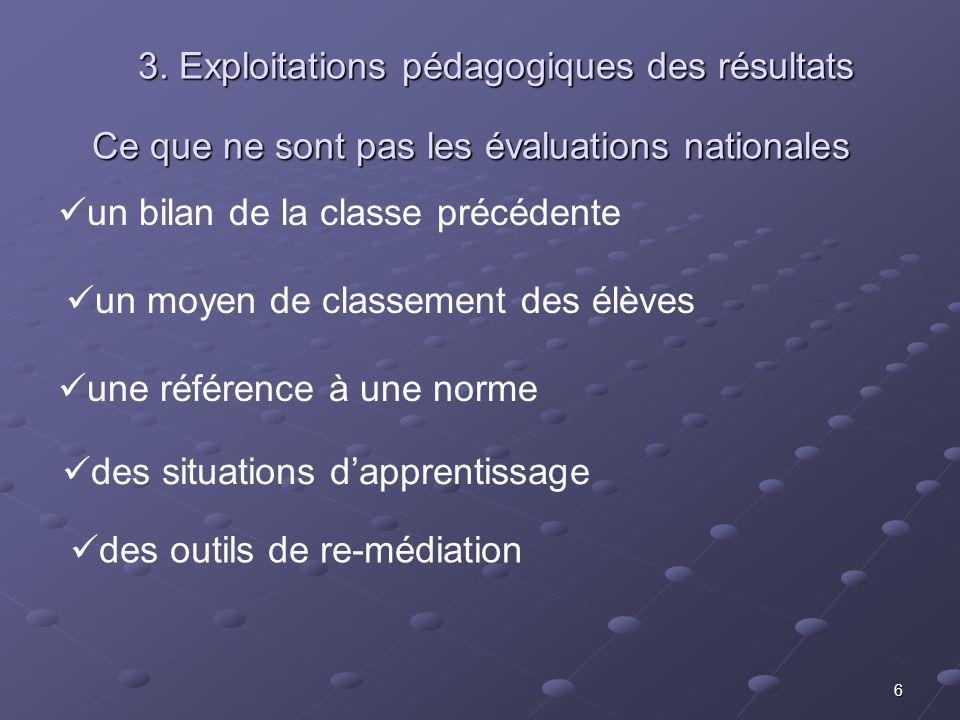 6 Ce que ne sont pas les évaluations nationales un moyen de classement des élèves un bilan de la classe précédente une référence à une norme des situations dapprentissage des outils de re-médiation 3.