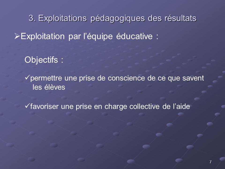 7 Exploitation par léquipe éducative : Objectifs : permettre une prise de conscience de ce que savent les élèves favoriser une prise en charge collective de laide