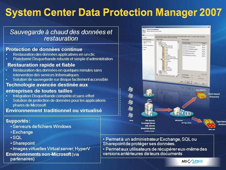 Protection de données continue Restauration des données applicatives en un clic Plateforme Disque/bande robuste et simple dadministration Restauration