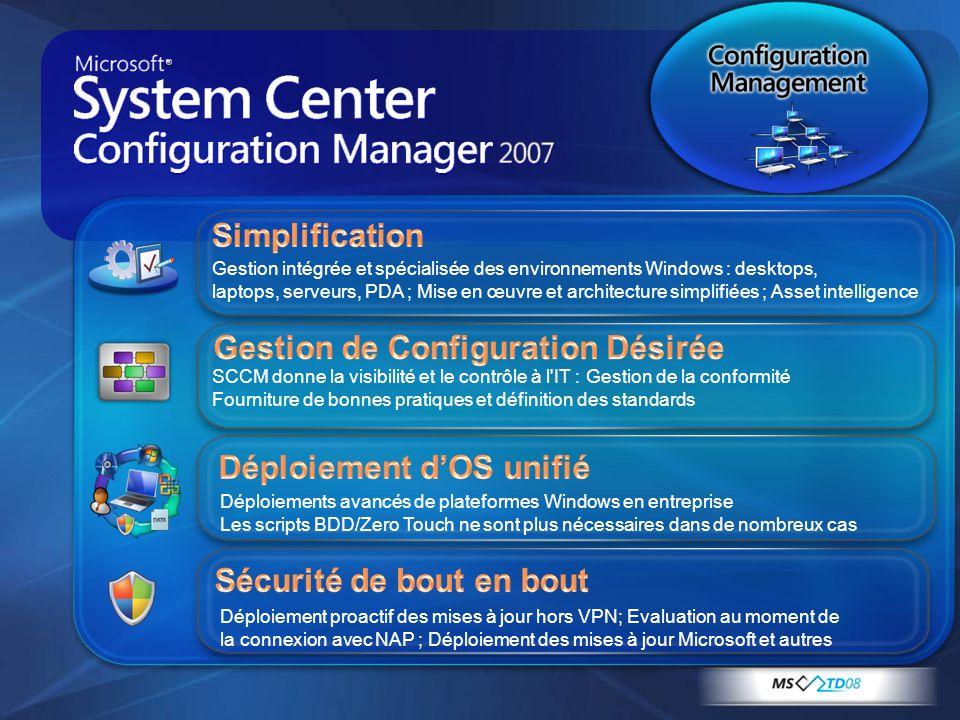 Gestion intégrée et spécialisée des environnements Windows : desktops, laptops, serveurs, PDA ; Mise en œuvre et architecture simplifiées ; Asset inte