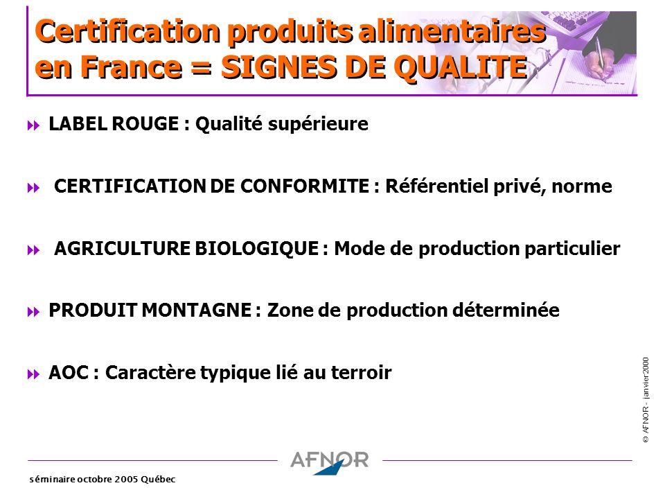 AFNOR - janvier 2000 séminaire octobre 2005 Québec Certification produits alimentaires en France = SIGNES DE QUALITE LABEL ROUGE : Qualité supérieure