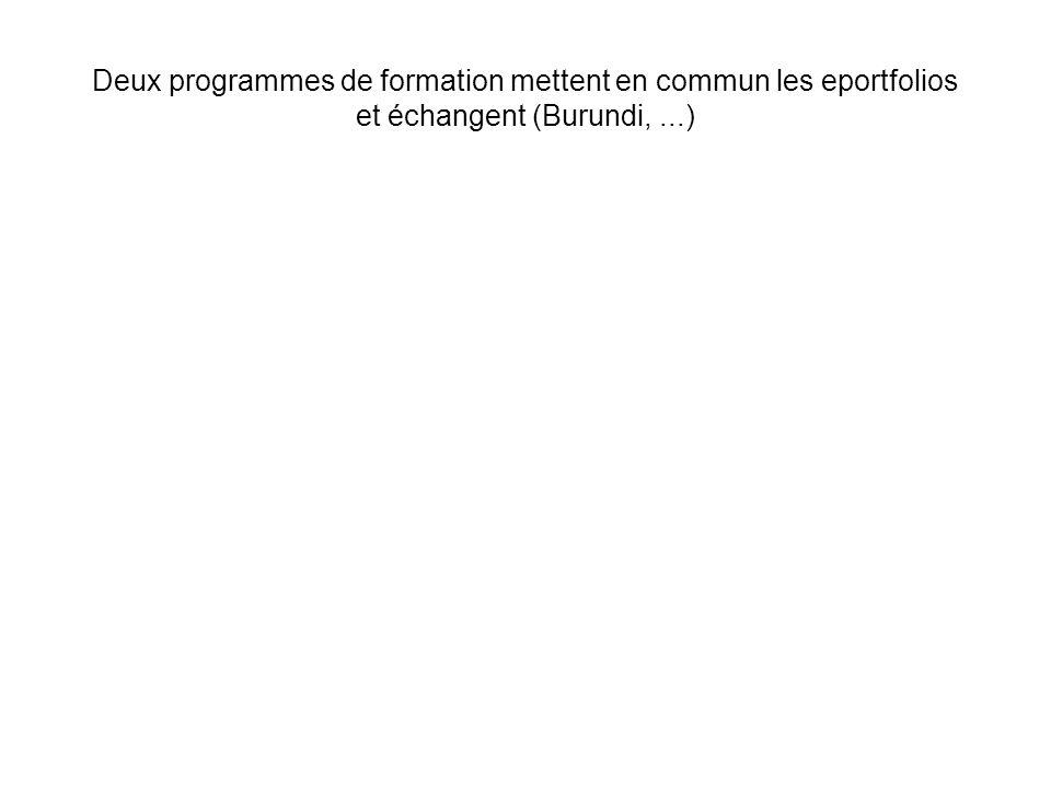 Deux programmes de formation mettent en commun les eportfolios et échangent (Burundi,...)