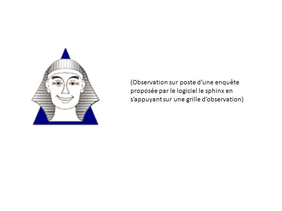 (Observation sur poste dune enquête proposée par le logiciel le sphinx en sappuyant sur une grille dobservation)