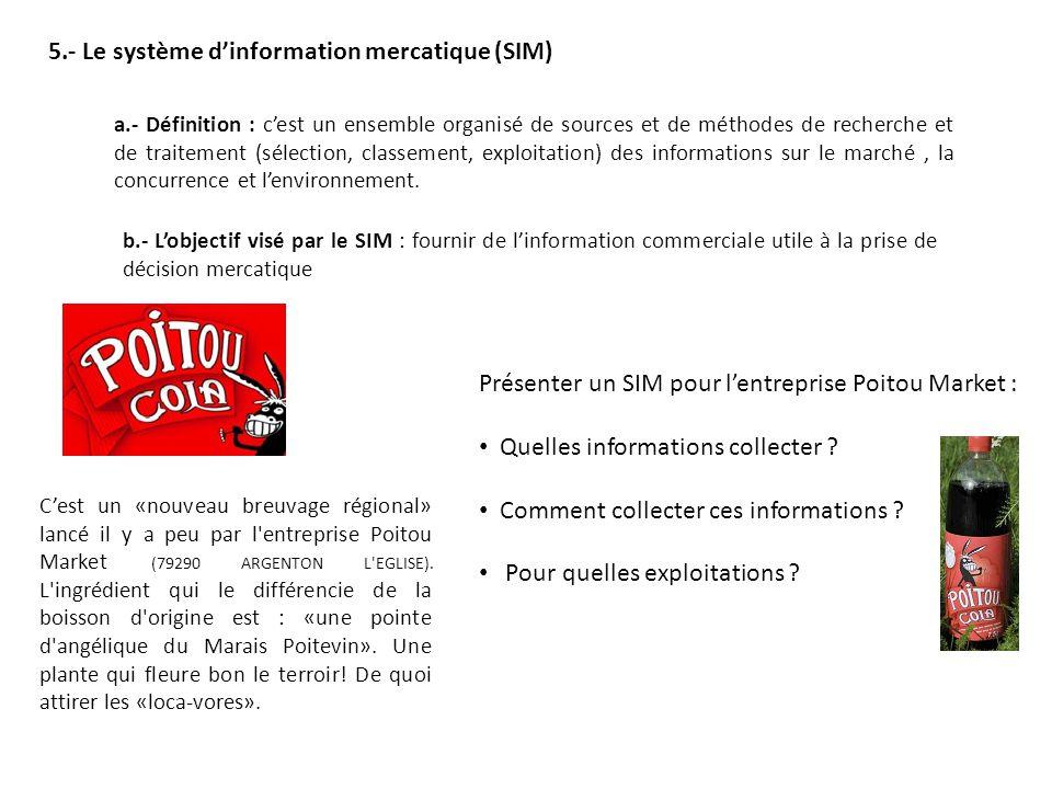 5.- Le système dinformation mercatique (SIM) a.- Définition : cest un ensemble organisé de sources et de méthodes de recherche et de traitement (sélection, classement, exploitation) des informations sur le marché, la concurrence et lenvironnement.