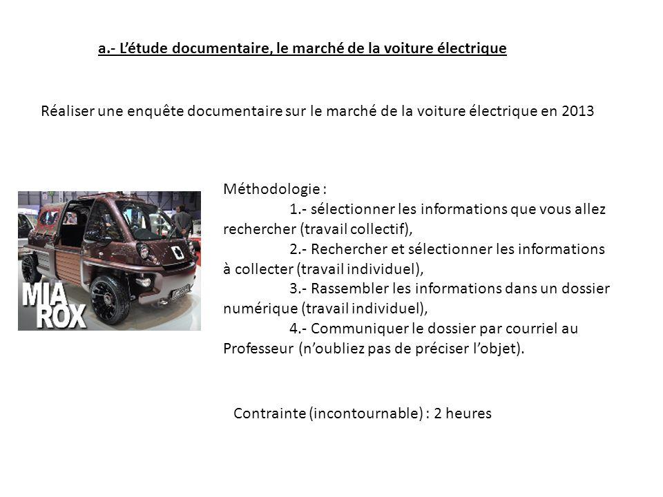 a.- Létude documentaire, le marché de la voiture électrique Réaliser une enquête documentaire sur le marché de la voiture électrique en 2013 Méthodolo