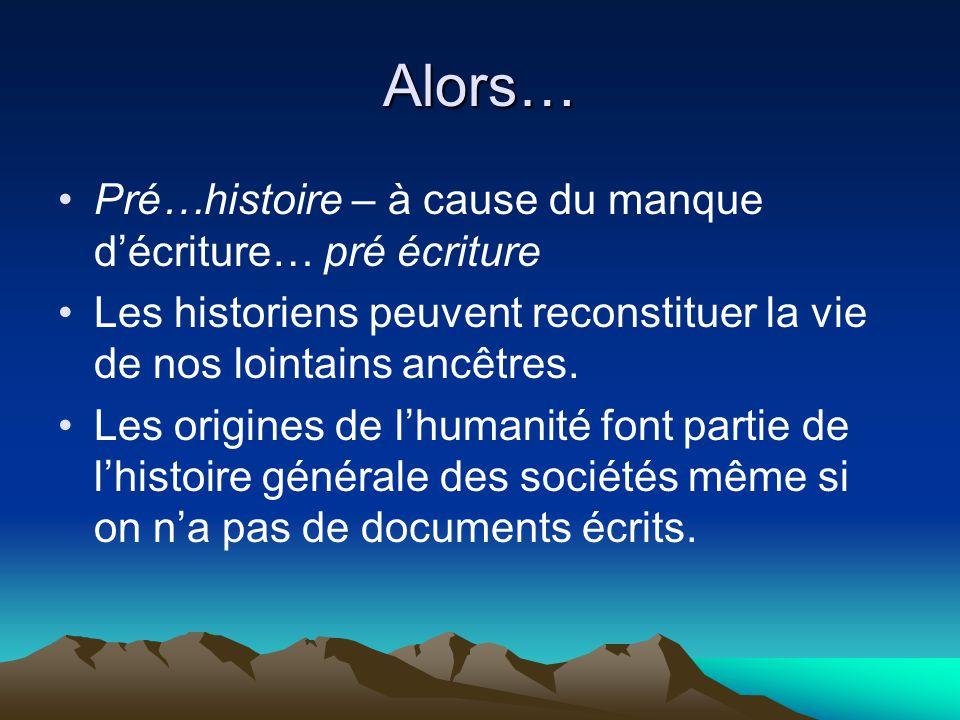 Alors… Pré…histoire – à cause du manque décriture… pré écriture Les historiens peuvent reconstituer la vie de nos lointains ancêtres. Les origines de