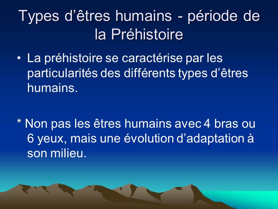 Types dêtres humains - période de la Préhistoire La préhistoire se caractérise par les particularités des différents types dêtres humains. * Non pas l
