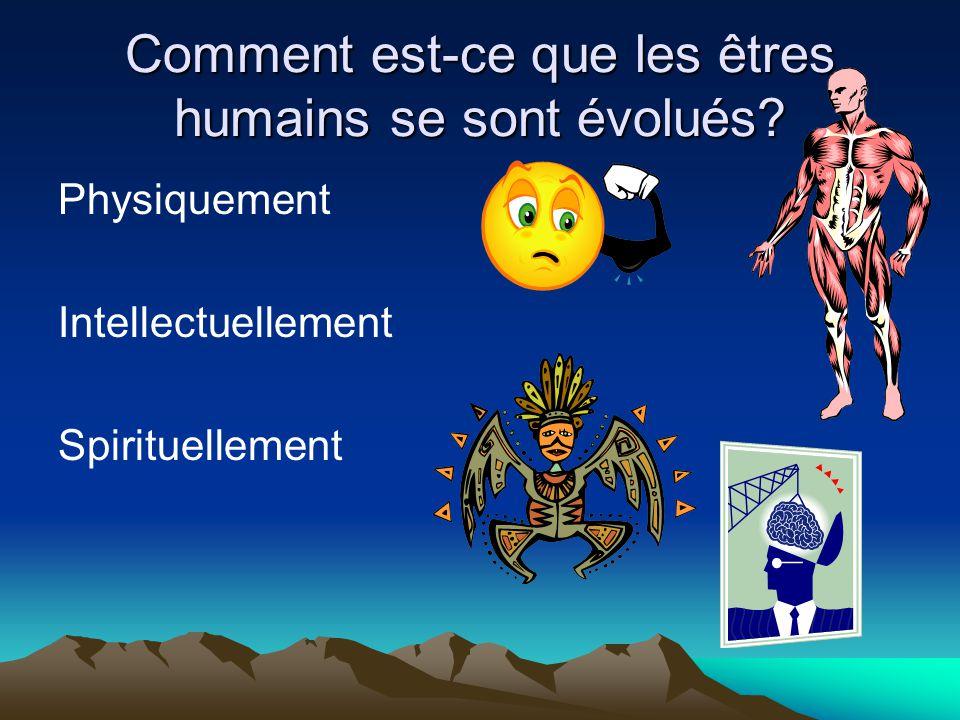Comment est-ce que les êtres humains se sont évolués? Physiquement Intellectuellement Spirituellement