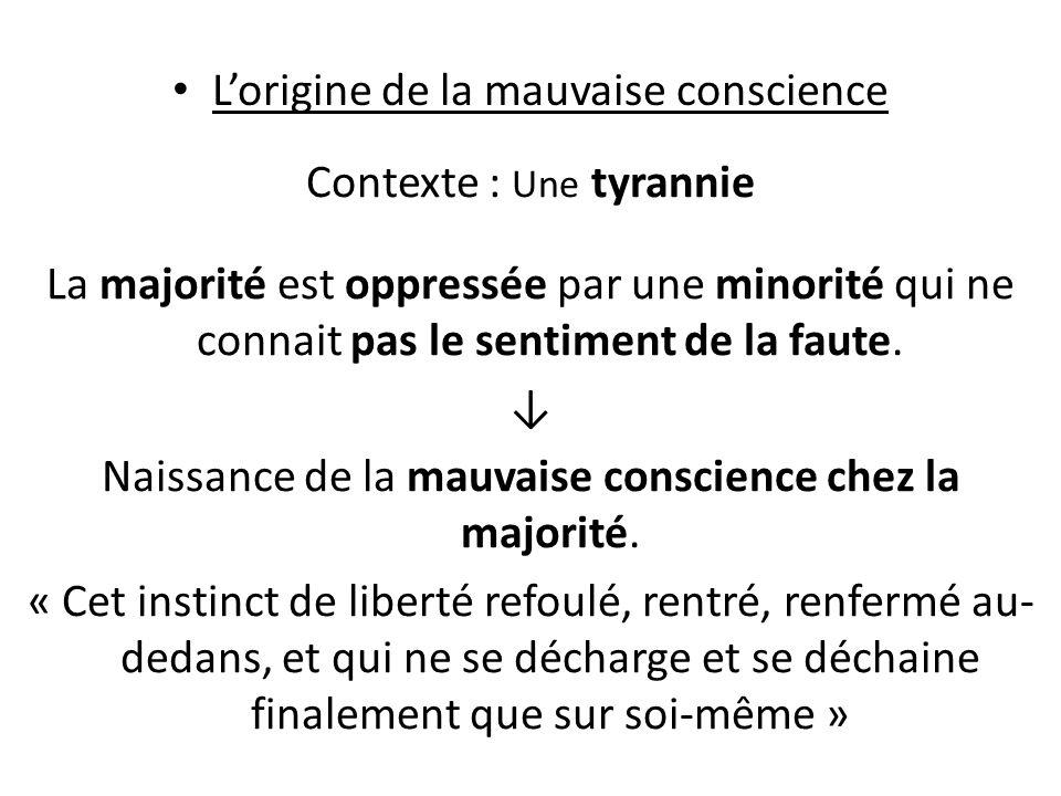 Lorigine de la mauvaise conscience Contexte : Une tyrannie La majorité est oppressée par une minorité qui ne connait pas le sentiment de la faute.