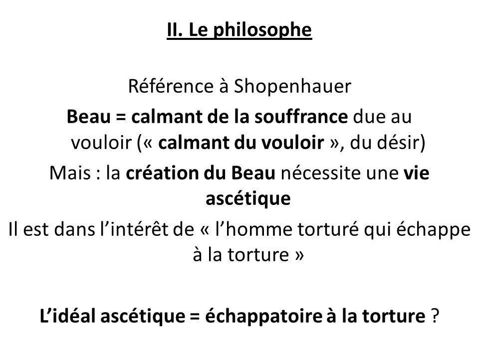 II. Le philosophe Référence à Shopenhauer Beau = calmant de la souffrance due au vouloir (« calmant du vouloir », du désir) Mais : la création du Beau