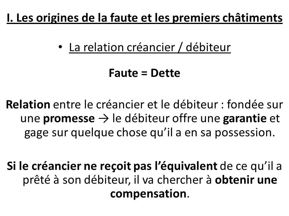 I. Les origines de la faute et les premiers châtiments La relation créancier / débiteur Faute = Dette Relation entre le créancier et le débiteur : fon