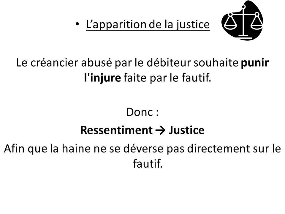 Lapparition de la justice Le créancier abusé par le débiteur souhaite punir l injure faite par le fautif.