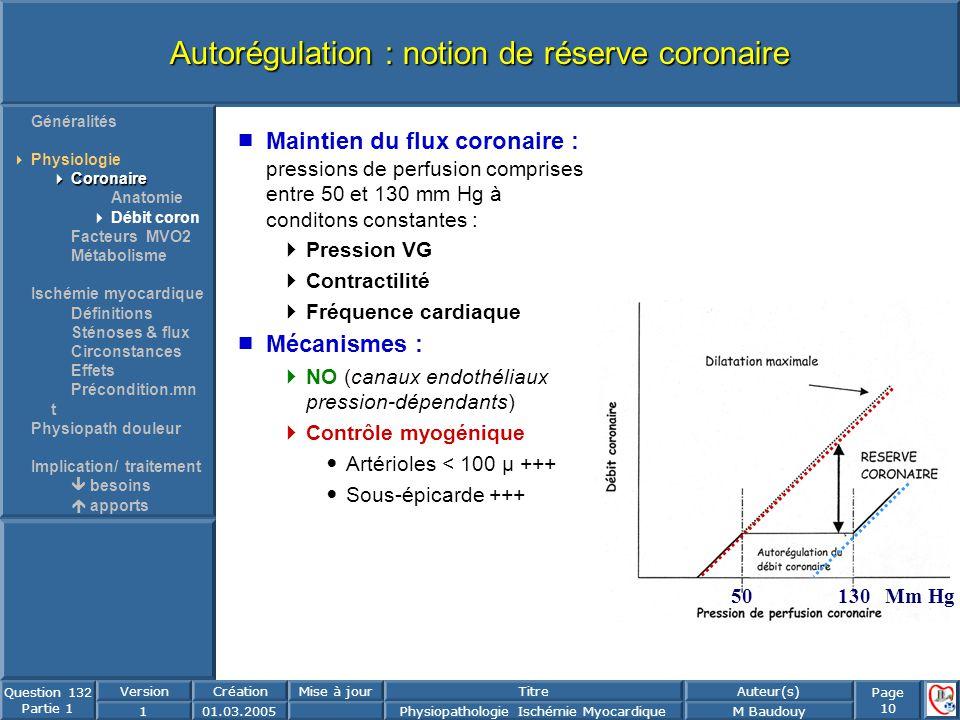 Page 10 Question 132 Partie 1 VersionCréationMise à jourTitreAuteur(s) 101.03.2005Physiopathologie Ischémie MyocardiqueM Baudouy Autorégulation : noti