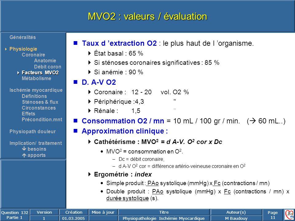 Page 11 Question 132 Partie 1 VersionCréationMise à jourTitreAuteur(s) 101.03.2005Physiopathologie Ischémie MyocardiqueM Baudouy MVO2 : valeurs / éval