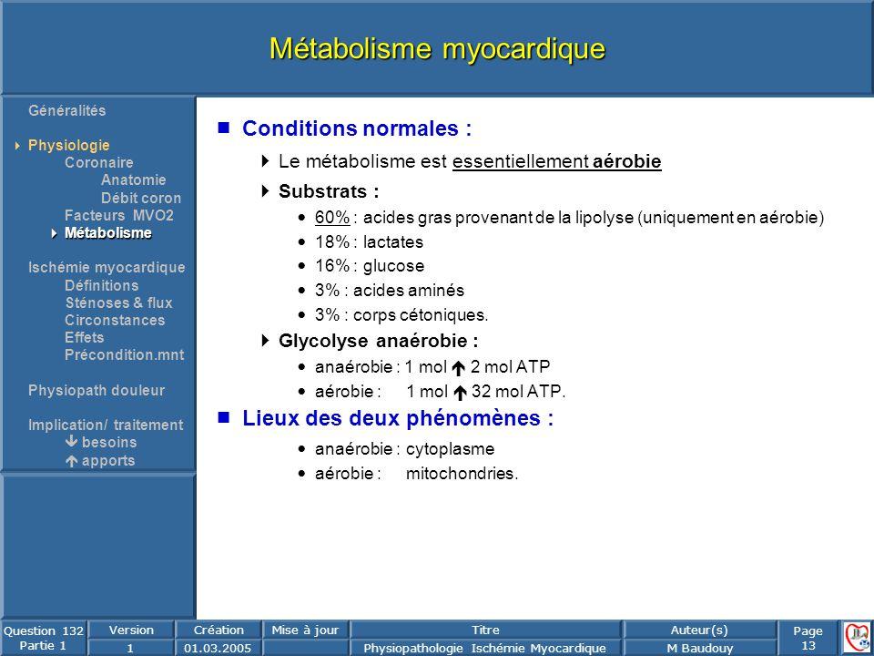 Page 13 Question 132 Partie 1 VersionCréationMise à jourTitreAuteur(s) 101.03.2005Physiopathologie Ischémie MyocardiqueM Baudouy Métabolisme myocardiq