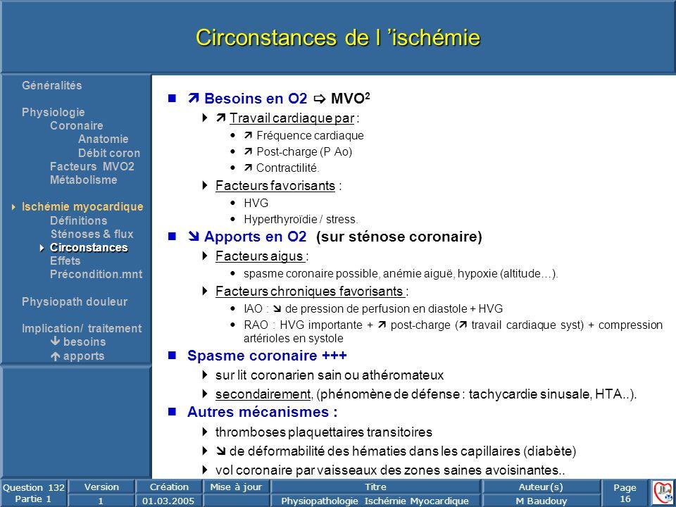 Page 16 Question 132 Partie 1 VersionCréationMise à jourTitreAuteur(s) 101.03.2005Physiopathologie Ischémie MyocardiqueM Baudouy Circonstances de l is