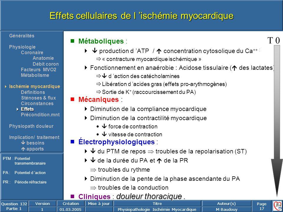 Page 17 Question 132 Partie 1 VersionCréationMise à jourTitreAuteur(s) 101.03.2005Physiopathologie Ischémie MyocardiqueM Baudouy Effets cellulaires de