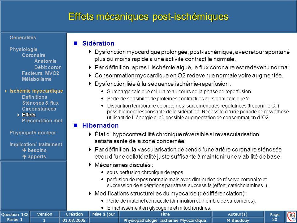 Page 20 Question 132 Partie 1 VersionCréationMise à jourTitreAuteur(s) 101.03.2005Physiopathologie Ischémie MyocardiqueM Baudouy Effets mécaniques pos